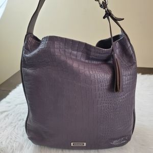 Coach Avery Croc Embossed Leather Hobo
